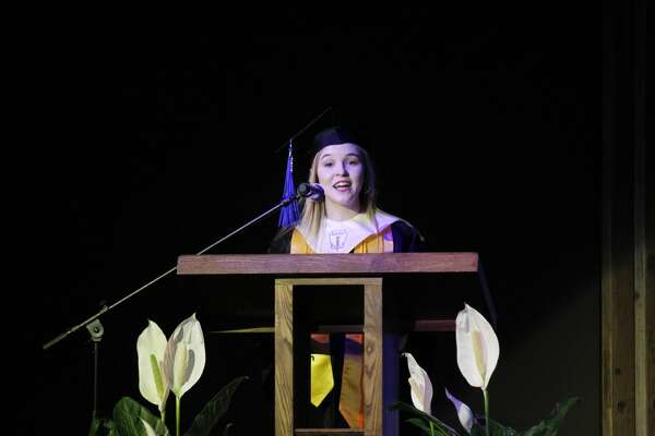 Sarah Grace Shaw gives her valedictorian speech at Saturday's PCA commencement ceremony.