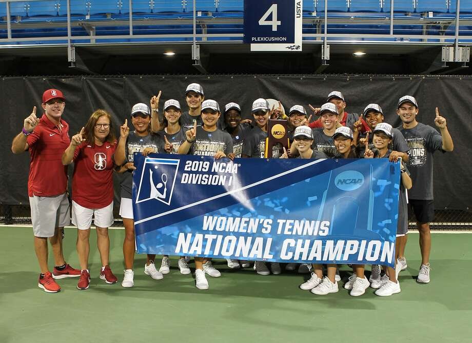 The Stanford women's tennis team celebrates its NCAA title Sunday in Orlando. Photo: Courtesy Of Bill Kallenberg