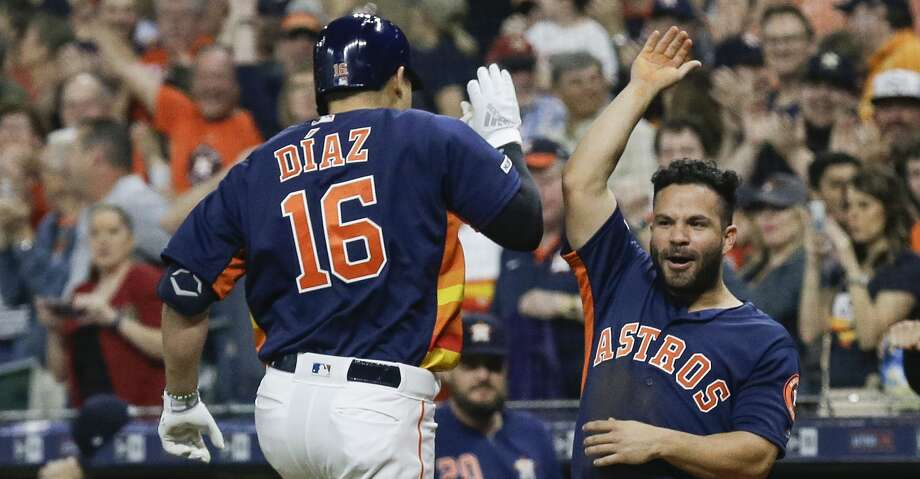 PHOTOS: Astros game-by-game Aledmys Diaz #16 of the Houston Astros celebrates with Jose Altuve #27 after hitting a home run in the first inning against the Oakland Athletics at Minute Maid Park on April 07, 2019 in Houston, Texas. (Photo by Bob Levey/Getty Images) Browse through the photos to see how the Astros have fared in each game this season. Photo: Bob Levey/Getty Images