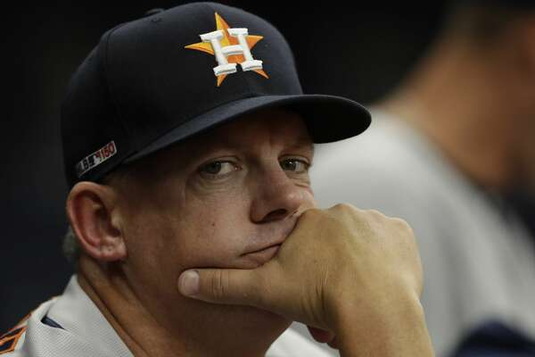 Houston Astros manager AJ Hinch during the first inning of a baseball game against the Tampa Bay Rays Thursday, March 28, 2019, in St. Petersburg, Fla. (AP Photo/Chris O'Meara)
