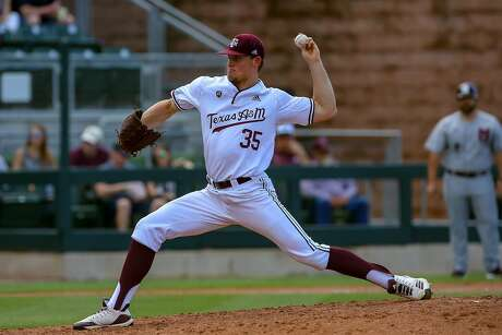 Texas A&'s Asa Lacy pitches against Mississippi State.
