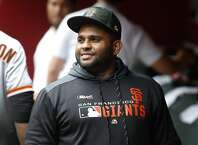 San Francisco Giants' Pablo Sandoval prior to a baseball game against the Arizona Diamondbacks, Sunday, May 19, 2019, in Phoenix. (AP Photo/Ralph Freso)
