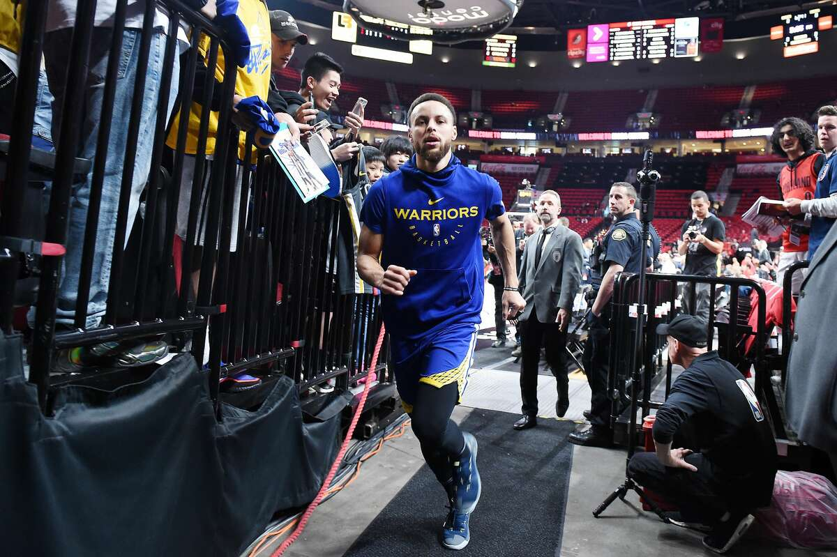 Stephen Curry #30 of the Golden State Warriors runs off the court before game four of the NBA Western Conference Finals against the Portland Trail Blazers at Moda Center on May 20, 2019 in Portland, Oregon.