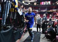 PORTLAND, OREGON - MAY 20: Stephen Curry #30 of the Golden State Warriors runs off the court before game four of the NBA Western Conference Finals against the Portland Trail Blazers at Moda Center on May 20, 2019 in Portland, Oregon. NOTE TO USER: User expressly acknowledges and agrees that, by downloading and or using this photograph, User is consenting to the terms and conditions of the Getty Images License Agreement. (Photo by Steve Dykes/Getty Images)