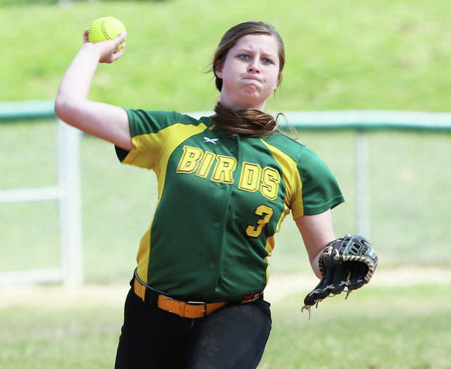 Southwestern shortstop Molly Novack fires to first in a game earlier this season in Piasa. Novack, one of two seniors on the team, and the Piasa Birds will play Williamsville in a semifinal Tuesday at the Litchfield Class 2A Sectional. Photo: Greg Shashack / The Telegraph