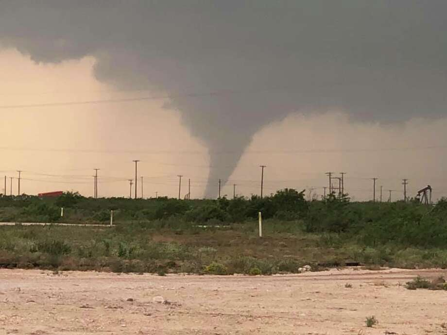 Reader submitted photo of the confirmed tornado on 1787 looking north on 1788 toward Midland International Airport. Photo: Melody Chastain Macha