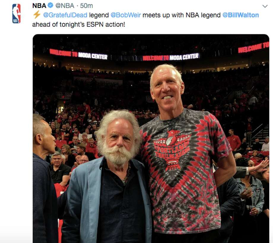 Former NBA player Bill Walton and Grateful Dead member Bob Weir at Game 4 of the Western Conference Finals. Photo: Twitter