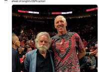 Former NBA player Bill Walton and Grateful Dead member Bob Weir at Game 4 of the Western Conference Finals.