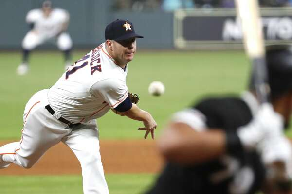 Houston Astros relief pitcher Brad Peacock (41) pitches to Chicago White Sox Jose Abreu (79) during the fourth inning of a major league baseball game at Minute Maid Park on Monday, May 20, 2019, in Houston.