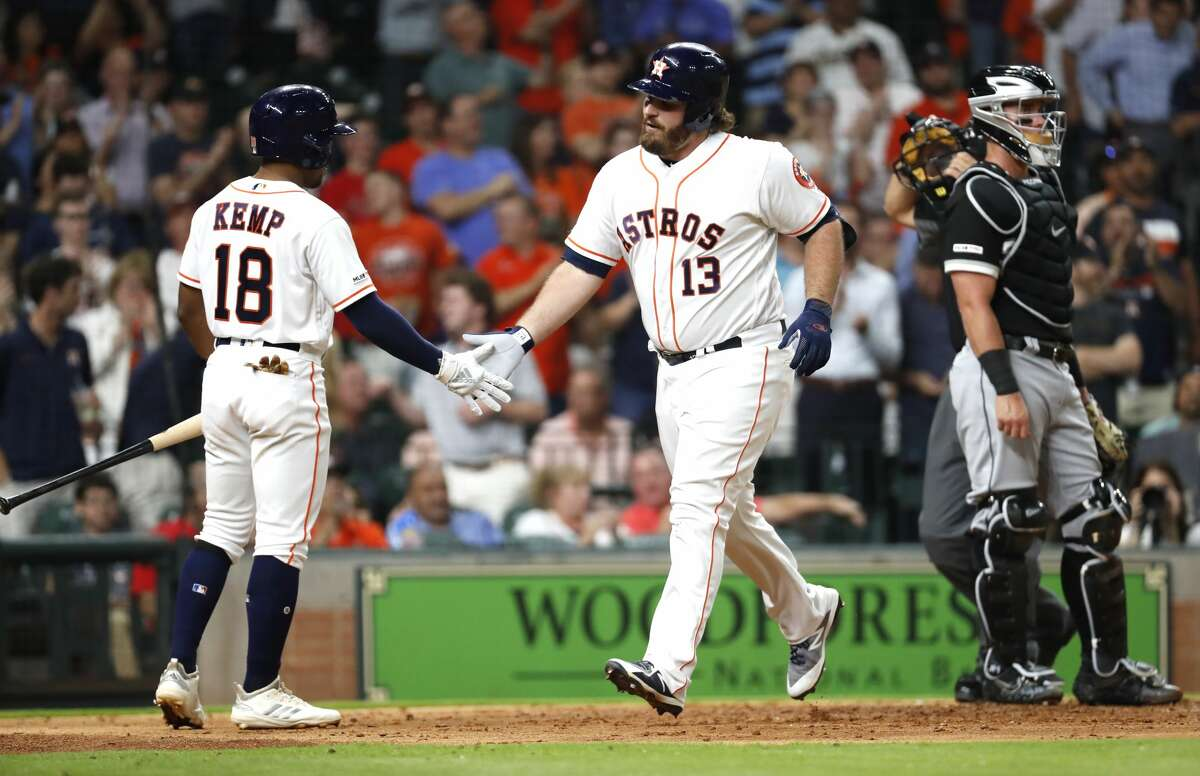 PHOTOS: A look at Astros players when they were minor leaguers Houston Astros Tyler White (13) is met at the plate by Tony Kemp (18) after White hit a a solo home run off Chicago White Sox relief pitcher Jose Ruiz during the fourth inning of a major league baseball game at Minute Maid Park on Monday, May 20, 2019, in Houston.