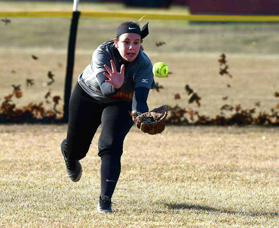 Colonie left fielder Jen McCumber tries to catch a fly ball during a softball game against Shenendehowa on Wednesday, April 3, 2019 in Clifton Park, N.Y. (Lori Van Buren/Times Union) Photo: Lori Van Buren / 40046575A