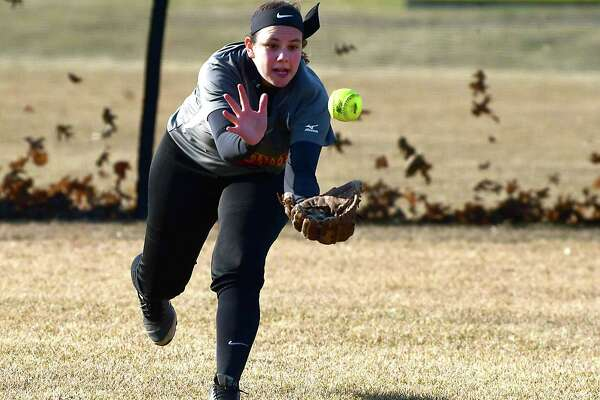 Colonie left fielder Jen McCumber tries to catch a fly ball during a softball game against Shenendehowa on Wednesday, April 3, 2019 in Clifton Park, N.Y. (Lori Van Buren/Times Union)