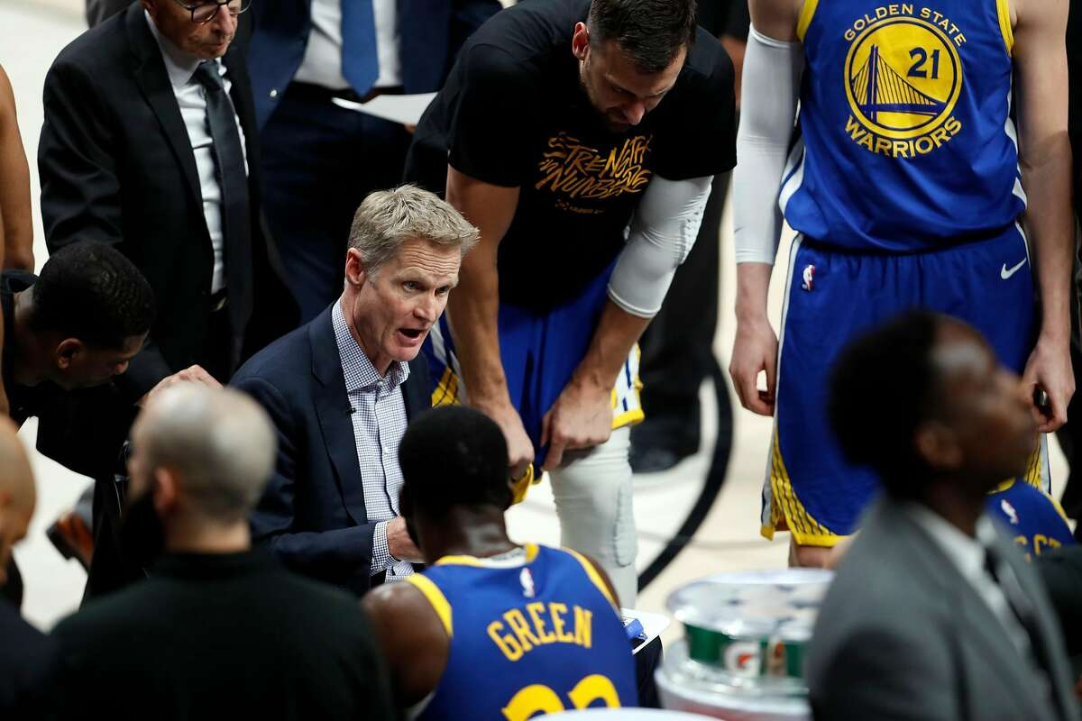 Golden State Warriors' head coach Steve Kerr during Warriors' 119-117 overtime win over Portland Trail Blazers in NBA Western Conference Finals' Game 4 at Moda Center in Portland, Oregon on Monday, May 20, 2019.