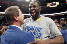 Golden State Warriors' Draymond Green and owner Joe Lacob after 119-117 overtime win over Portland Trail Blazers' in NBA Western Conference Finals' Game 4 at Moda Center in Portland, Oregon on Monday, May 20, 2019.