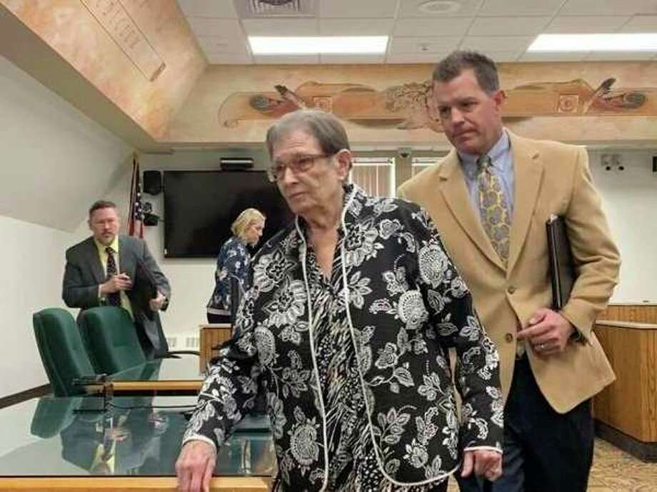 Former Mills Township clerk Maxine Brink, left, appears in 42nd Circuit Court with her attorney John Wilson on Wednesday, April 24, 2019. Brinkpleaded guilty toembezzlement and stealing or retaining a financial transaction while serving as a clerk and bookkeeper for the Mills Township Board of Trustees between 2013 and 2018. (Mitchell Kukulka/Mitchell.Kukulka@mdn.net).