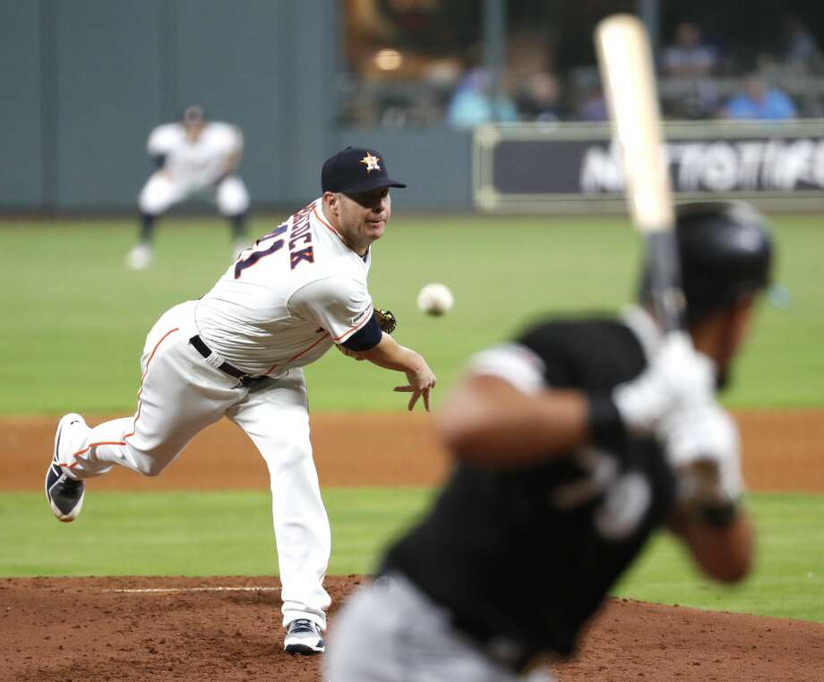 Houston Astros pitcher Brad Peacock (41) pitches to Chicago White Sox hitter Jose Abreu (79) during the fourth inning of a major league baseball game at Minute Maid Park on Monday, May 20, 2019, in Houston. Photo: Brett Coomer/Staff Photographer