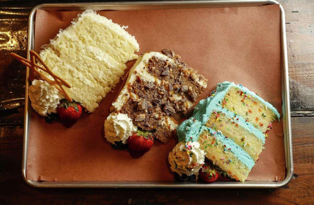 Coconut Cream cake, Banana Caramel with Heath Bar crunch cake and Funfetti birthday cake at Truth BBQ
