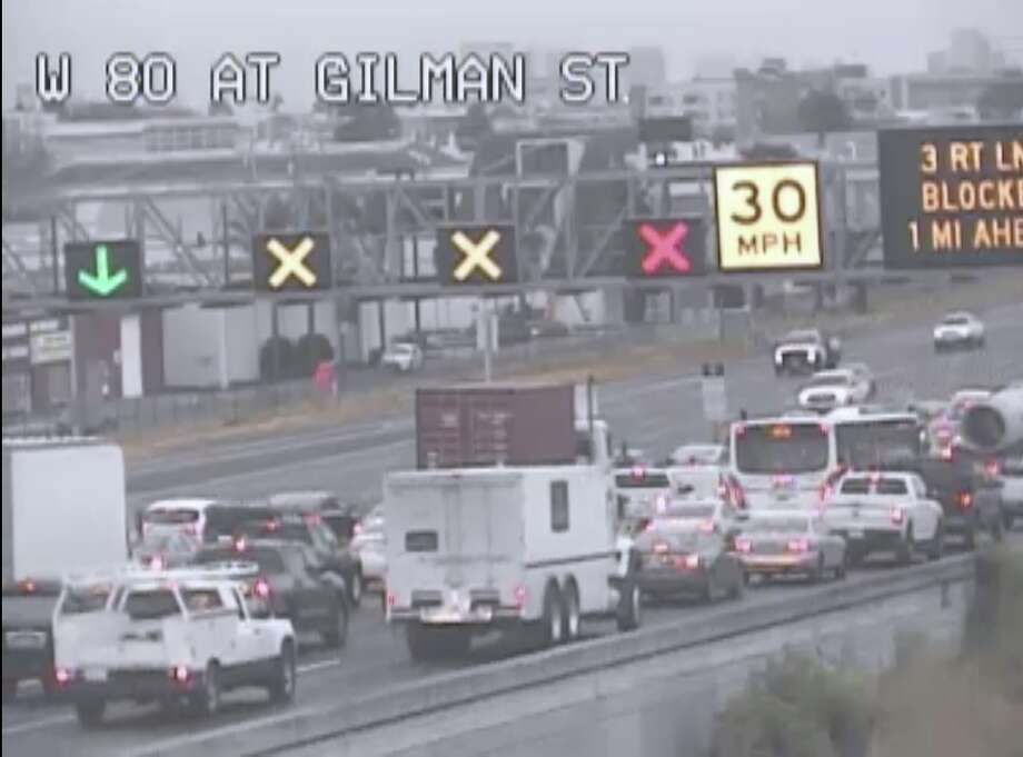 The three right lanes of westbound I-80 at University Ave. are blocked on Tuesday morning, May 21, 2019. Photo: CalTrans