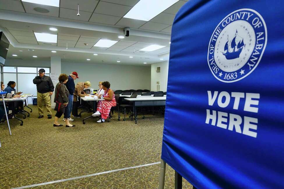 Voters make their way in to vote on the Albany School District budget at a polling site at Maria College on Tuesday, May 21, 2019, in Albany, N.Y. (Paul Buckowski/Times Union)