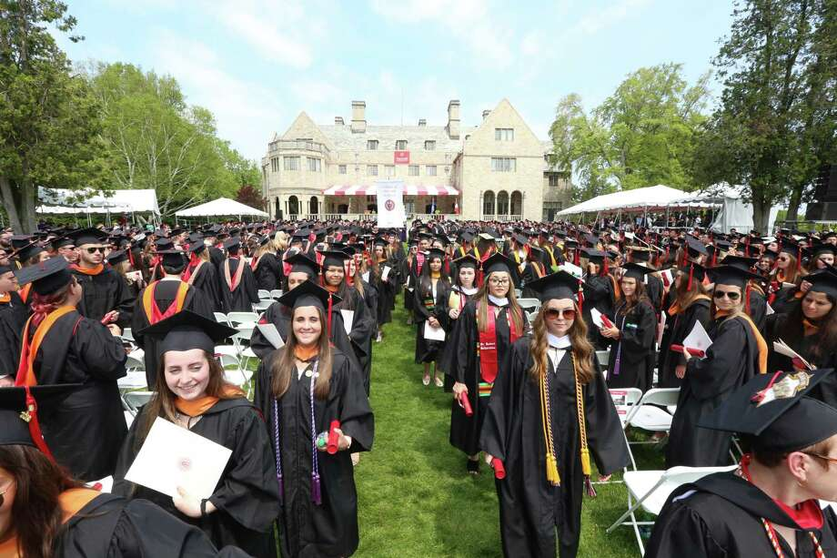 Members of the Class of 2019 at the Bellarmine lawn at Fairfield University during commencement ceremonies last Sunday. Photo: Contributed Photo / Fairfield University