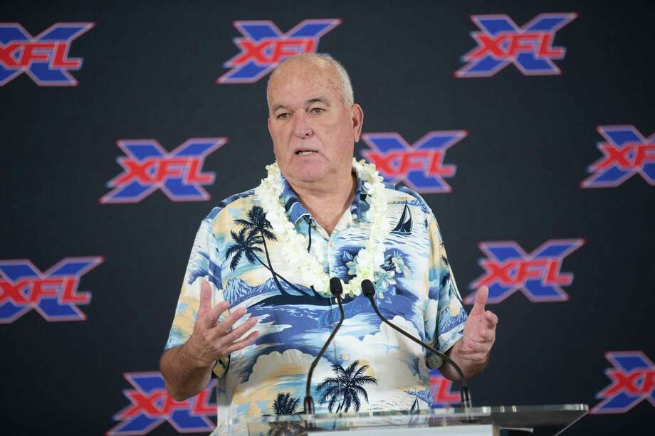 PHOTOS: NFL players from Houston (2018)  XFL Head Coach June Jones speaking to the media during Houston XFL Press Conference at TDECU Stadium, Monday, May 20, 2019, in Houston.  >>>A look at 2018 NFL rosters and picking out which players played high school football in Houston ...  Photo: Juan DeLeon, Contributor / ©2019 Juan DeLeon