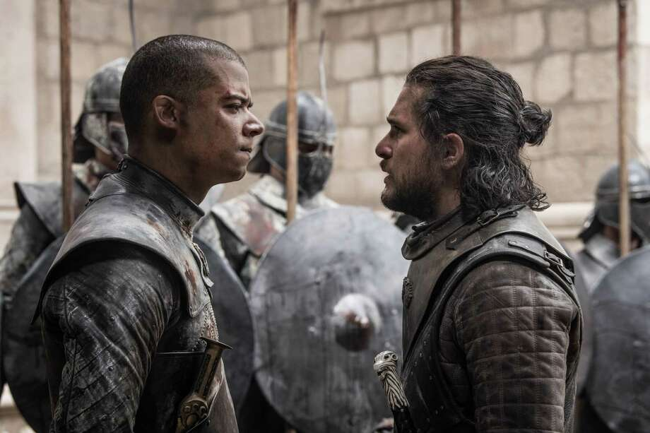 "Jacob Anderson as Grey Worm, left, and Kit Harington as Jon Snow on the series finale of ""Game of Thrones."" Photo: Helen Sloan, HBO / HBO"
