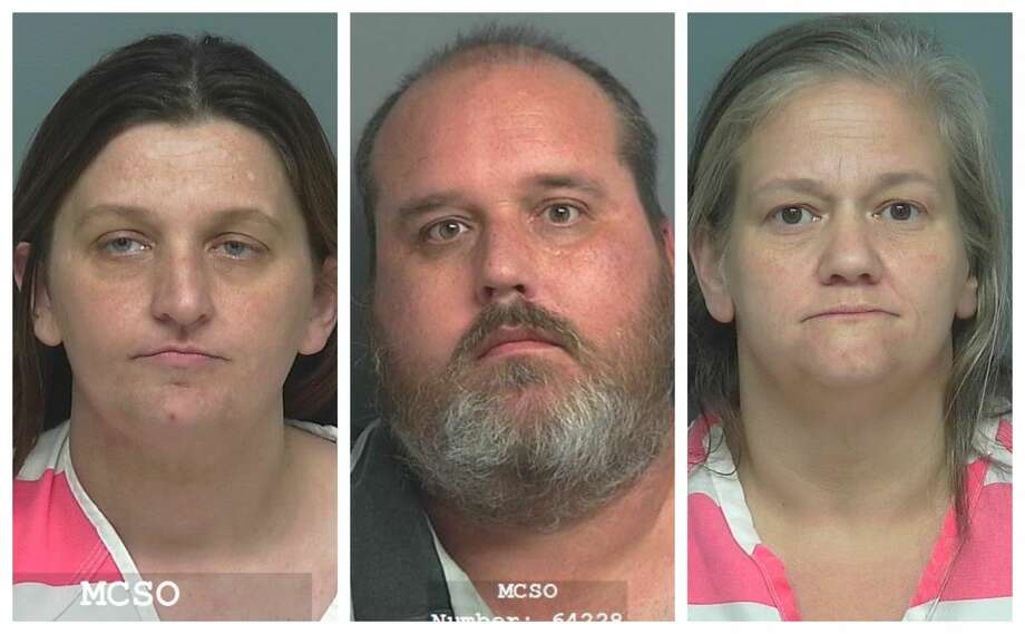 Jennifer Dianne Stark, 36, (far left) Bryan Christopher Underwood, 45, and Nicole Angelique Lheureux, 48, are being charged with manufacture and delivery of a controlled substance. Photo: Montgomery County Sheriff's Office