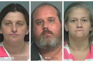 Jennifer Dianne Stark, 36, (far left) Bryan Christopher Underwood, 45, and Nicole Angelique Lheureux, 48, are being charged with manufacture and delivery of a controlled substance.