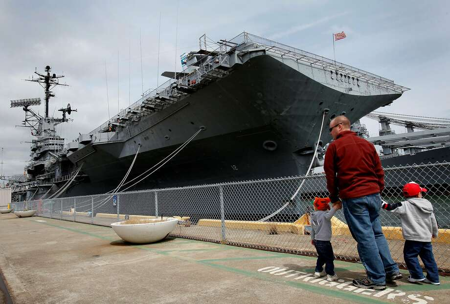 Memorial Day is celebrated aboard the USS Hornet in Alameda. The Hornet serves as a floating museum. Photo: Brant Ward, The Chronicle