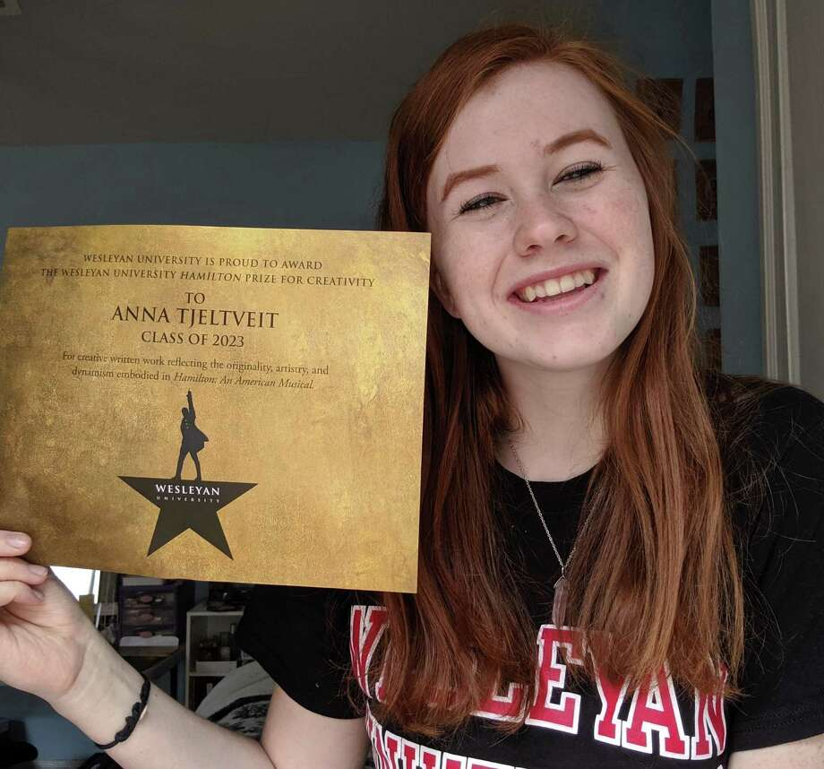 "Anna Tjeltveit of William Allen High School in Allentown, Pennsylvania, was awarded the top Hamilton Prize for Creativity: a four-year, full-tuition scholarship to attend Wesleyan University in Middletown — for her one-act play ""Five Steps."" Photo: Contributed Photo"