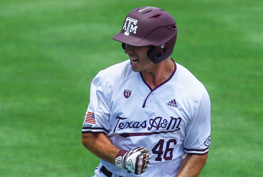 Texas A&M's Jonathan Ducoff reacts after hitting a three run homer during the eighth inning of the Southeastern Conference tournament NCAA college baseball game against Florida, Tuesday, May 21, 2019, in Birmingham, Ala. (AP Photo/Butch Dill) Photo: Butch Dill/Associated Press / Copyright 2019 The Associated Press. All rights reserved.