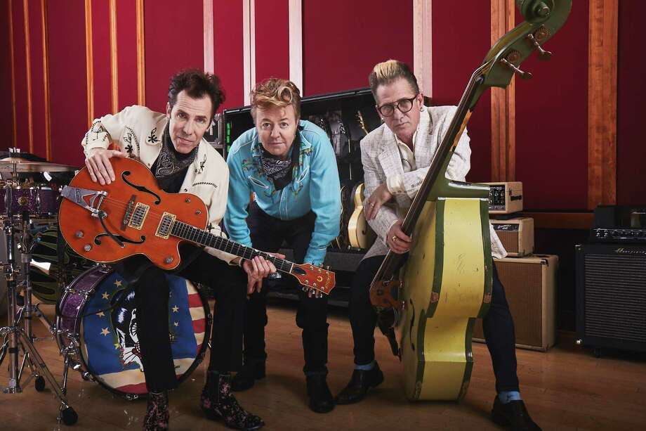 "The Stray Cats, from left, drummer Slim Jim Phantom, guitarist/vocalist Brian Setzer and bassist Lee Rocker are back with a new album, ""40."" Photo: Russ Harrington / Russ Harrington"