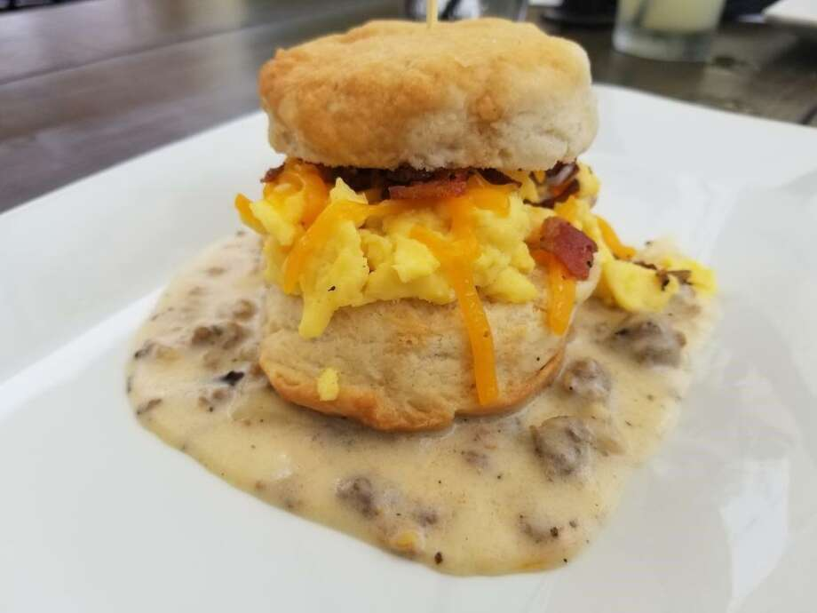 A bacon, egg and cheese biscuit with white sausage gravy at Alamo Biscuit Co. Photo: Alamo Biscuit Co.