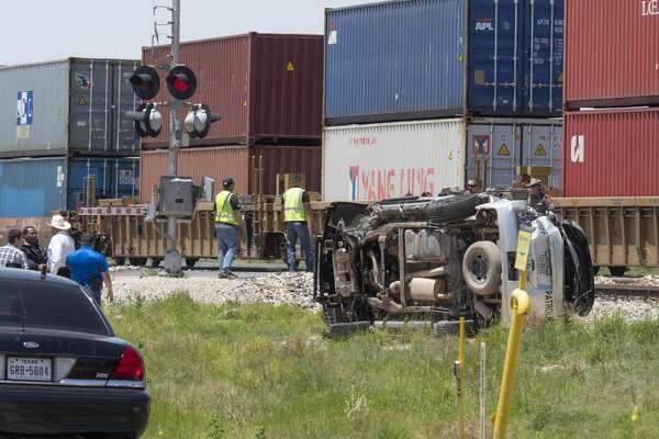 A Midland County Sheriff Deputy was injured 05/21/19 morning in a one vehicle accident with an eastbound train at the CR 1250 crossing. The deputy was responding to a call when he failed to yield to a passing train. Tim Fischer/Reporter-Telegram