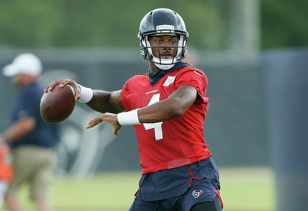 PHOTOS: Houston Texans 2019 schedule HOUSTON, TX - MAY 21: Deshaun Watson #4 of the Houston Texans throws a pass during Houston Texans OTA's at the Houston Methodist Training Center on May 21, 2019 in Houston, Texas.(Photo by Bob Levey/Contributor) >>>A look at the 2019 schedule for the Houston Texans ...