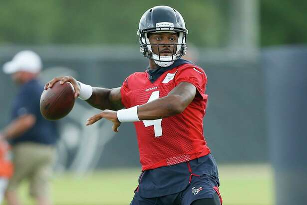 HOUSTON, TX - MAY 21: Deshaun Watson #4 of the Houston Texans throws a pass during Houston Texans OTA's at the Houston Methodist Training Center on May 21, 2019 in Houston, Texas.(Photo by Bob Levey/Contributor)