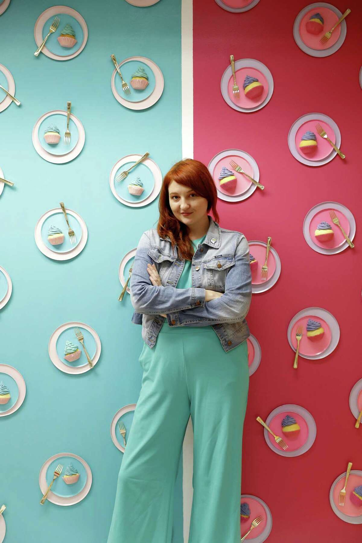 """FOMO Factory founder Rachel Youens in the """"birthday room"""" in the FOMO Factory under construction in the Galleria mall, in Houston , Thursday, May 2, 2019. FOMO Factory was formerly in Austin, and is set to open in Houston in June. Malls and department stores are incorporating Instagrammable, experiential retail to draw customers in the age of Amazon."""