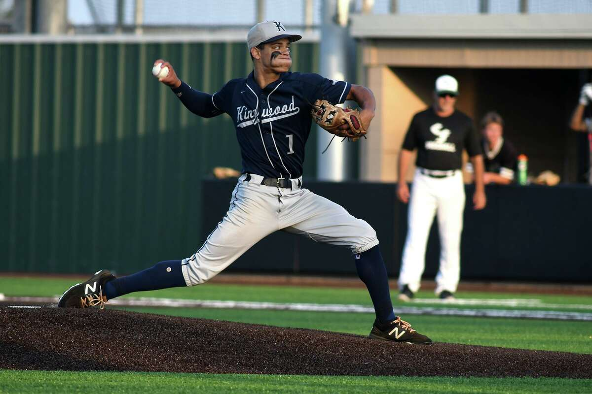 Kingwood pitcher Masyn Winn works to a Clear Falls hitter in the top of the first inning of Game One of their best of three series at Humble High School on May 10, 2019. (Photo by Jerry Baker)