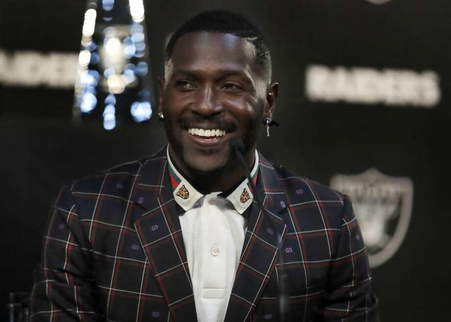 Oakland Raiders wide receiver Antonio Brown smiles during the NFL football team's news conference Wednesday, March 13, 2019, in Alameda, Calif. (AP Photo/Ben Margot) Photo: Ben Margot / Associated Press / Copyright 2019 The Associated Press. All rights reserved.