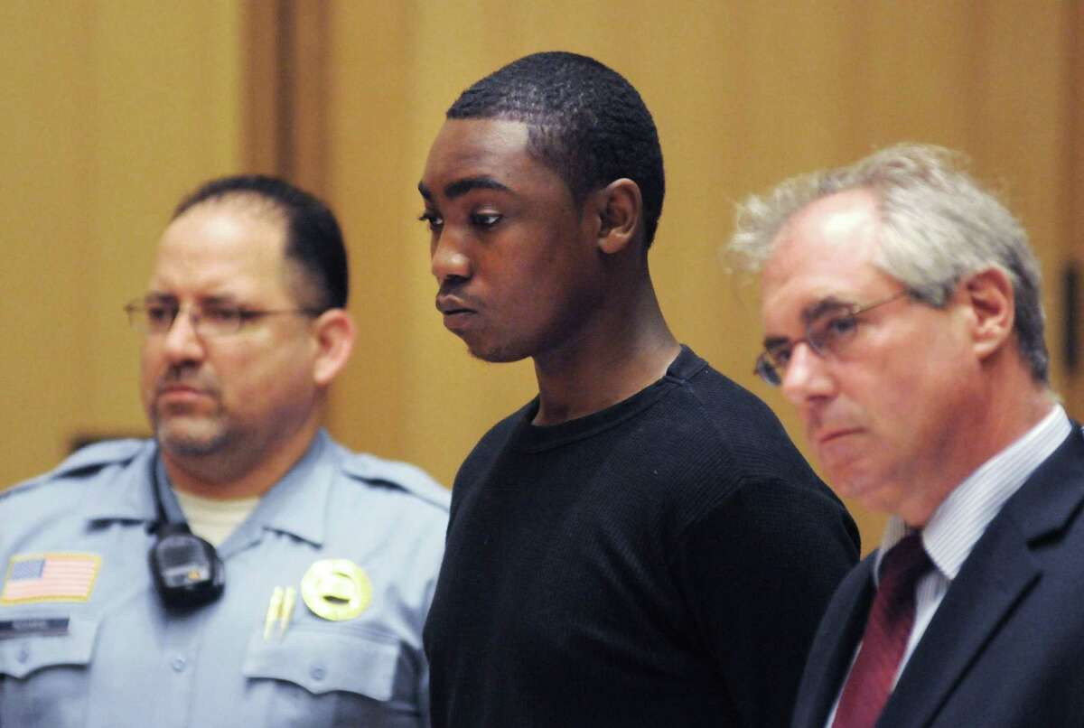 Andre Quinn Russell, 20, of 83 Ludlow St.,is arraigned at the Stamford courthouse Friday June 13, 2014 charged with the Thursday night murder of William
