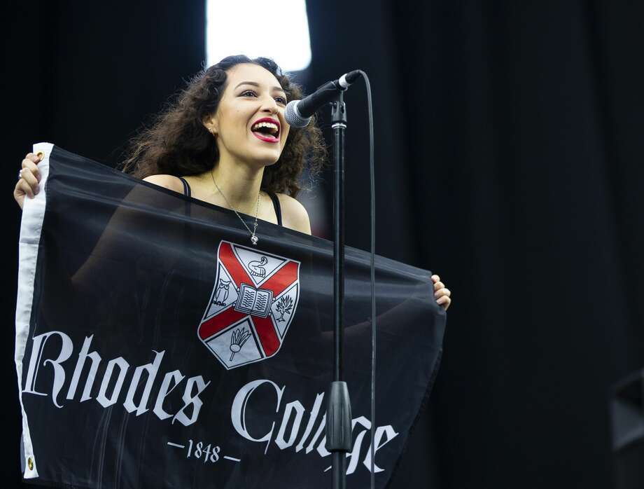 Northside senior Guadalupe Calderonannounces her decision to attend Rhodes College during YES Prep's annual Senior Signing Day ceremony inside Houston's NRG Stadium, Tuesday, May 21, 2019. On Senior Signing Day, YES Prep brings all of their students from their 18 campuses to watch as the various schools' seniors declare where they will be going after graduation. Photo: Mark Mulligan/Staff Photographer