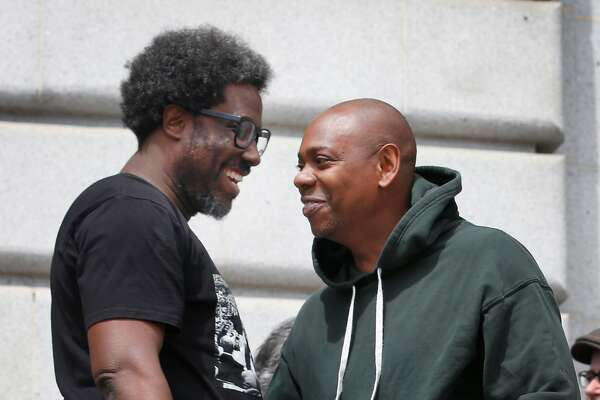 Comedians W. Kamau Bell and Dave Chappelle appear at a rally at City Hall to announce an effort by Supervisor Aaron Peskin to prevent the Punch Line comedy club from shutting down in San Francisco, Calif. on Tuesday, May 21, 2019.