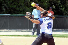 Pitcher Sydney Henrichs of Lewis and Clark Community College, a freshman from Gillespie, was 15-10 on the season with 150 strikeouts, 86 walks and a 2.15 earned-run average. She is shown in action against St. Louis Community College in the District P playoff series.