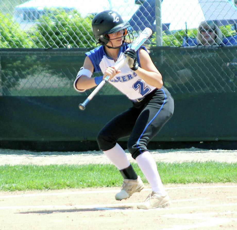 LCCC Mackenzie Masters, a sophomore from Rolla, Mo., batted .274 on the season with a air of doubles, six RBIs and 13 stolen bases. she is shown attempting to bunt her way on base against st. Louis community college. Photo: Pete Hayes | The Telegraph