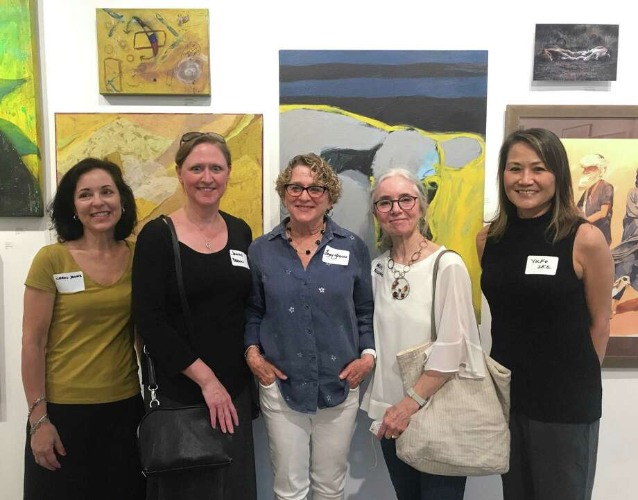 "Rowayton Arts Center's ""Spring Juried Show"" winners were annouced at the May 19 opening: Carol Young, chairperson, Janine Brown (Best In Show for ""The Wallflower Project,"" Black and White Photograph), Joyce Grasso (2nd Place for ""Distant Shore,"" Acrylic), Erin Nazzaro (3rd Place for ""The High Note,"" Acrylic) and co-chairperson Yuko Ike. Photo: Rowayton Arts Center / Contributed Photo"
