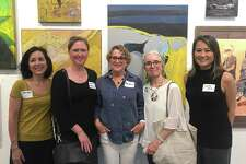 """Rowayton Arts Center's """"Spring Juried Show"""" winners were annouced at the May 19 opening: Carol Young, chairperson, Janine Brown (Best In Show for """"The Wallflower Project,"""" Black and White Photograph), Joyce Grasso (2nd Place for """"Distant Shore,"""" Acrylic), Erin Nazzaro (3rd Place for """"The High Note,"""" Acrylic) and co-chairperson Yuko Ike."""