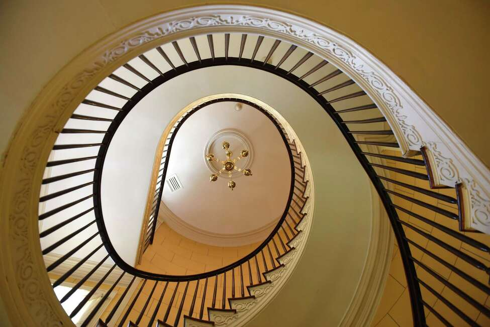 Main staircase inside the Russell Sage College president's house on Thursday, May 16, 2019, on First Street in Troy, N.Y. (Will Waldron/Times Union)