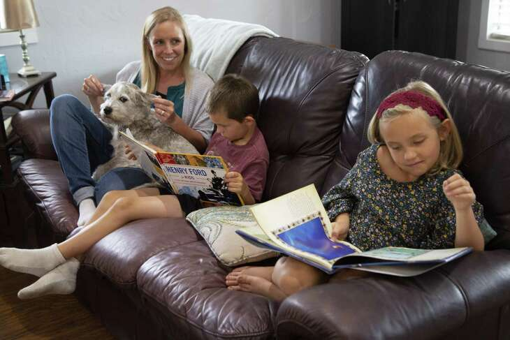 Brittany Parsons home schools her children, Micah, 6, and Caylee, 7, on Wednesday, May 8, 2019, in Weatherford, Texas. Brittany is stuck with a $36K unpaid bill that her insurer did not pay even though she had a life threatening emergency and under Texas law insurance companies must pay network rates regardless if they are in or out of network. She first went to a free-standing ER and was transferred to a traditional hospital where she spent a week, three days in ICU. BCBS paid her hospital charges but not the freestanding ER. The insurance industry vowed to crack down on frivolous and overpriced emergency rooms claims by denying payment outright if a patient did not need emergency care. But what happens when the patient is, in fact, having an emergency? Blue cross Blue Shield of Texas said it would pay in such cases but that is not always happening, again leaving patients trapped with tens of thousands of unpaid claims that they must now pay.