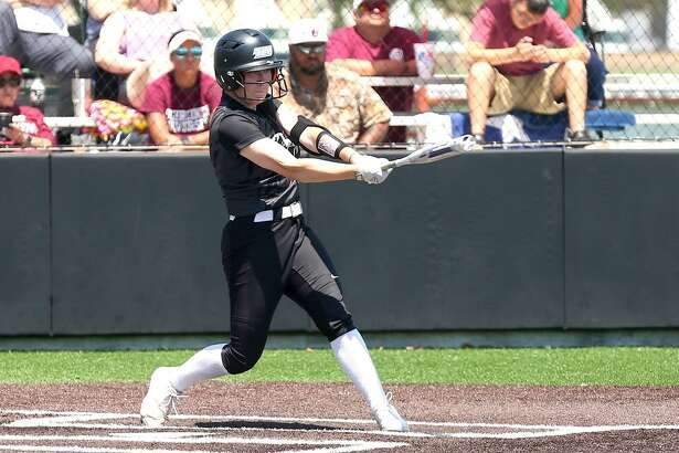 Texas Lutheran University senior Kassie Maddox is shown here batting in an earlier game for the Bulldogs. Photo courtesy of TLU Athletics