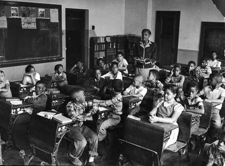 The segregated Monroe Elementary School in Topeka, Kansas, in 1953. Among the students are Linda Brown (front row, right) and her sister Terry Lynn (far left row, third from front) who, with their parents, initiated the landmark Civil Rights lawsuit Brown v. Board of Education.
